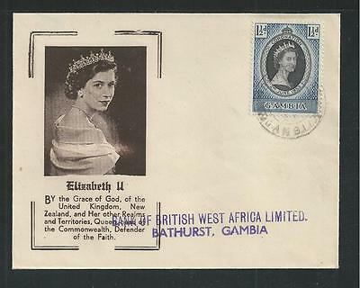 GAMBIA # 152 CORONATION OF H.M. QUEEN ELIZABETH II,. First Day Cover (2187)