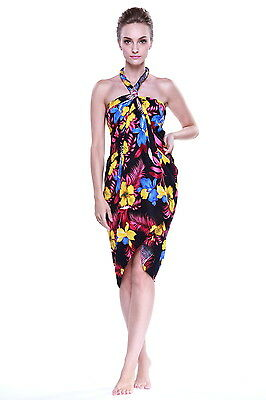 JUMBO PLUS SIZE Tropical Cruise Beach Luau Sarong Wrap Dress Pareo Black  Turquoi