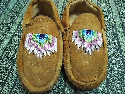 Native American Beaded Home Tanned Moose Hide Nature Blast Moccasins 9 3/4 Inch