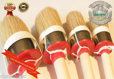 #HQ4 CHALK bsd PAINT & WAX bristle SET 4 shabby chic furniture ROUND BRUSHES