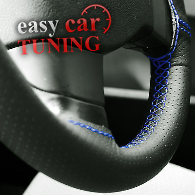 For Land Rover Discovery 3 Black Perforated Leather Steering Wheel Cover Blue