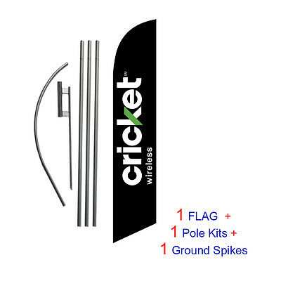 NEW 2014 Black Cricket 15' Feather Banner Swooper Flag Kit with pole+spike