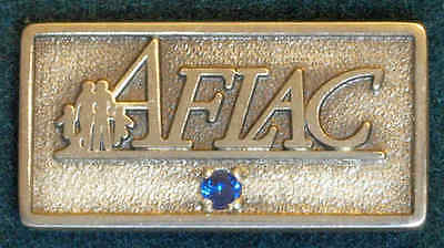 STERLING SILVER/SAPPHIRE AMERICAN FAMILY LIFE ASSURANCE AFLAC 5YR TIE TACK MIB