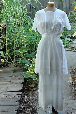 Edwardian lawn dress tiered with lace