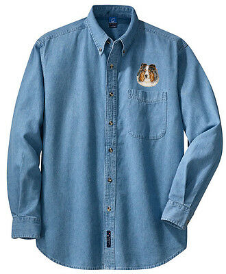 Shetland Sheepdog Sheltie Embroidered Denim Shirt - Sizes XS thru XL