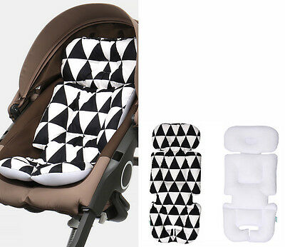 Reversible Baby Infant Stroller Liner Mat Cushion Head Rest 4 Seasons Triangle