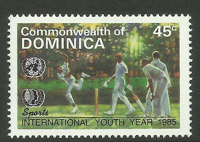 DOMINICA 1985 International Youth Year SINGLE CRICKET Value only MNH
