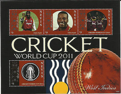 NEVIS 2011 ICC CRICKET WORLD CUP WEST INDIES TEAM CHRIS GAYLE 4v Sheet MNH