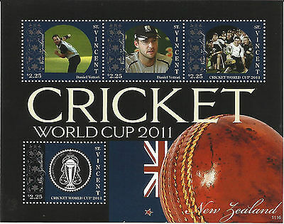 ST VINCENT 2011 ICC CRICKET WORLD CUP NEW ZEALAND DANIEL VETTORI  4v Sheet MNH