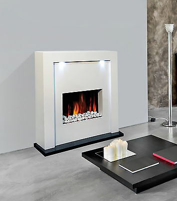 New Designer Free Standing Electric Fire Fireplace White Mdf Surround Led Lights