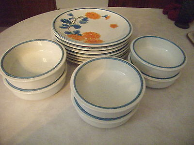 Mikasa Cordon Blue French Coral  - 7 Plates & 6  Soup/Cereal Bowls - 13 Pieces