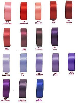 "25y-200y 3mm 1/8"" Red Burgundy Purple Double Sided Satin Ribbon Premium Eco"