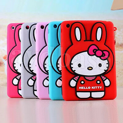 Cute Rabbit Ears HelloKitty Cat Silicone Back Case Cover For iPad Mini 1/2