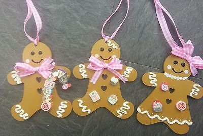 Gingerbread men christmas wood Decoration x3 Pink Gingham cupcakes & lolly pops