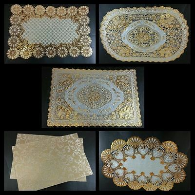 Gold Lace Flower 31x45 cm dining mat table ele-gant placemat dinner romance new