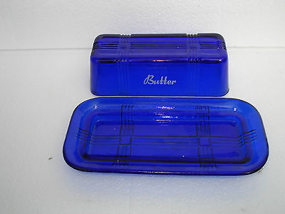 QUALITY STUNNING  COBALT BLUE DEPRESSION GLASS  BUTTER DISH=says BUTTER