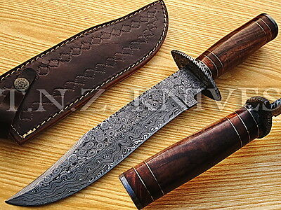 "TNZ USA HANDMADE DAMASCUS EXC 14"" BOWIE KNIFE W/ ROSE WOOD,BOLSTER FILE WORK,"