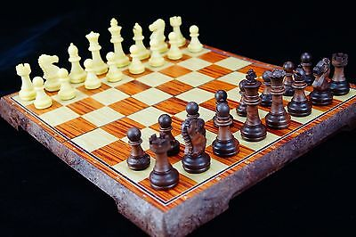Chess, 10.5 inch foldable carved wooden chessboard, chess pieces in solid wooden