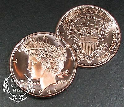 "1oz Copper Bullion Round - ""Peace Dollar"" Design"