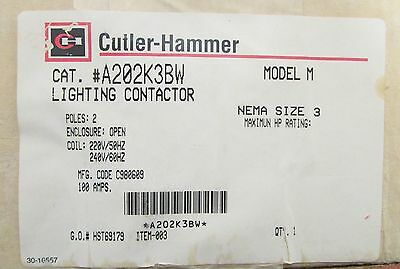 WESTINGHOUSE CUTLER HAMMER Size 3 A200 Lighting Contactor A202K3BW