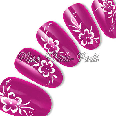 Nail Art Water Slide Decals Transfers Stickers White Flowers Dots Leaves Y010