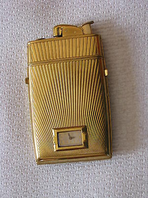 1950's EVANS cigarette lighter Combination cigarettes case and clock very clean