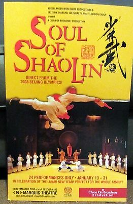 """SOUL OF SHAOLIN China on Broadway - Marquis Theatre 14x22"""" Hard POSTER Board"""