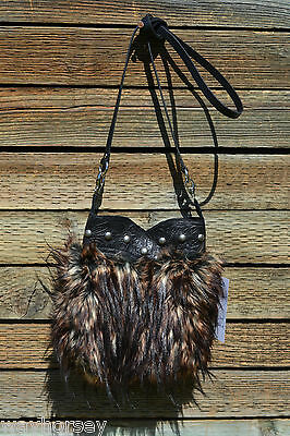 Patricia Wolf Hand Made Faux Lynx Boot Bag with Belt Clips & Shoulder Strap
