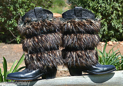 Patricia Wolf Hand Made Faux Lynx Western Cowboy Furry Boot Covers