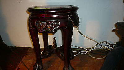 ANTIQUE  ASIAN  CARVED     MARBLE TOP TABLE  QING DYNASTY