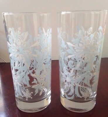 Libbey Snowflake and Swirls Tall Glass Tumblers Light Blue and White ~ Qty 2