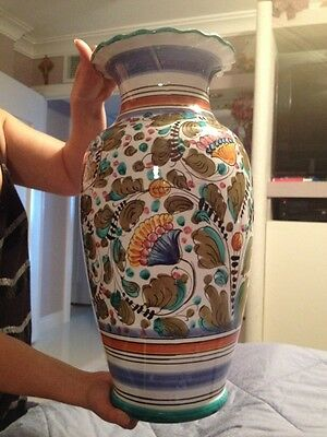 "LARGE Handpainted Italian Pottery Vase Franpes 18.5"" Tall Pompano FL Pick-Up"