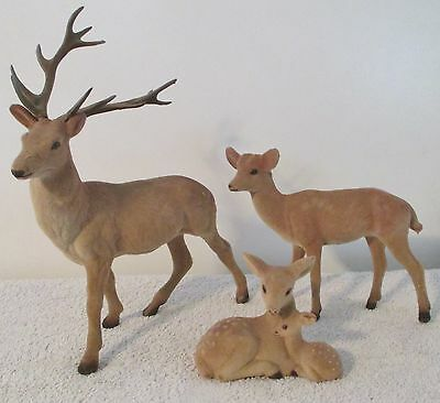 """3 PIECE DEER  FAMILY READY TO BE USED IN A WINTER/XMAS SCENE SCALE BUCK 11"""" TALL"""