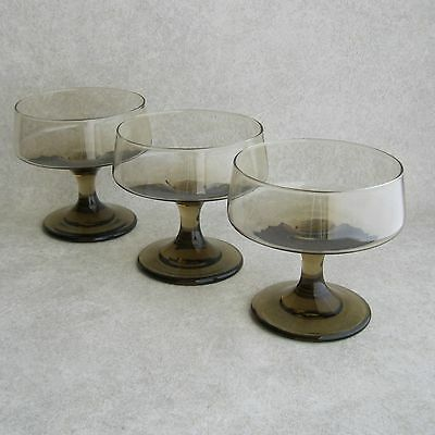 Set 3 Libbey Glass Tawny Accent Champagne or Tall Sherbet Dessert Glasses 1970s