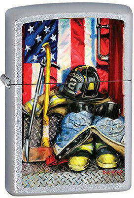 American Heroism Firemen's Tools by Paul Walsh Firefighter Chrome Zippo Lighter