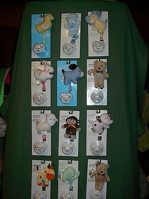 New CARTERS Plush Animal Toy Baby Boy or Girl Pacifier Binky Clip Set Sz NB+ NWT