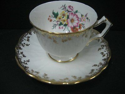 Aynsley Teacup & Saucer White With Flowers Beautiful