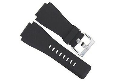 24Mm Rubber Band Strap For Bell Ross Black Br-01-Br-03 Watch Shiny Buckle