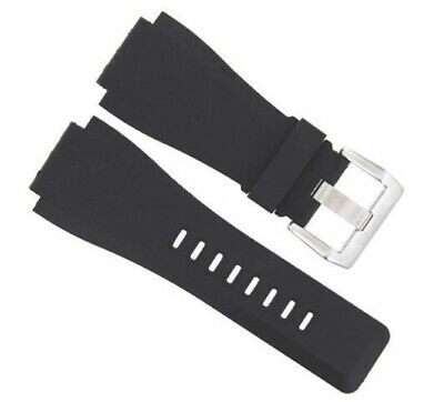 24Mm Rubber Band Strap For Bell Ross Black Br-01-Br-03 #2 Brush Buckle
