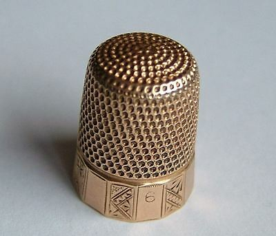 GOOD QUALITY, ANTIQUE 14CT SOLID GOLD THIMBLE, c1888