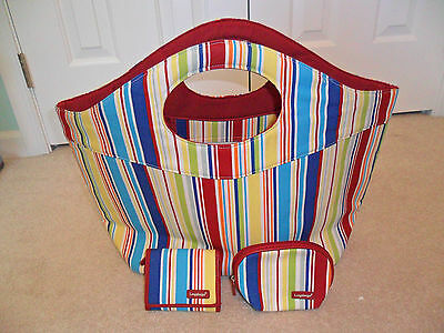 Longaberger Summer Stripe Tote/Totebag/Tote Bag, Wallet, and Cosmetic Case