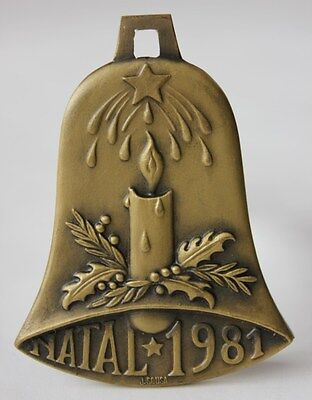 NATIVITY/ Unusual BELL SHAPE 1981 Christmas Bronze Medal/ Candle/ Star/ Poem