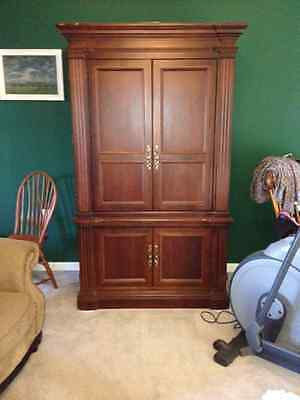 Solid Wood, Cherry, Entertainment Center, Matching Armoire, Interior Lights