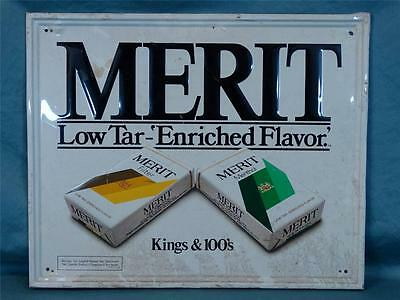 Vintage 1970s Merit Cigarette Tin Litho Sign! Really nice! Check this out! WOW!!