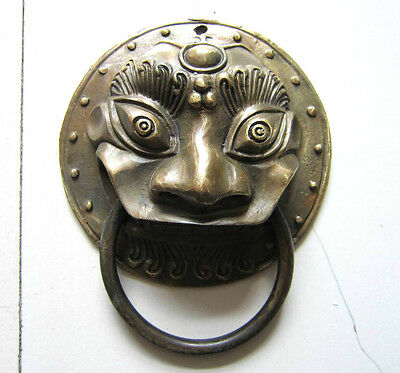 Bronze chinese ancient door knockers beast head ward off evil old collectibles