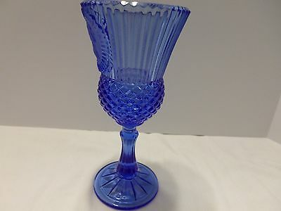Cobalt Blue Avon Pedestal Diamond & Rigged Design Vase  Face