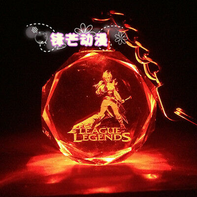 HOT League Of Legends Crystal 7 Color Flash LED Light Keychain-All-Star Riven-3