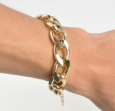 Punk New Fashion Metal Simple GOLDEN Shiny Alloy Chunky Curb Chain Bracelet