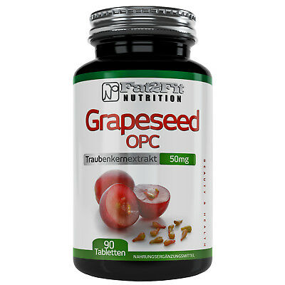 Traubenkernextrakt OPC 90 Tabletten je 50mg Grapeseed Traubenkern Fat2Fit
