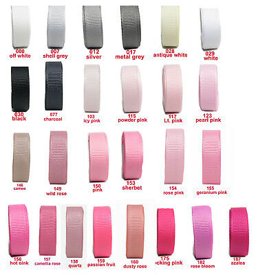"25y-100y 38mm 1 1/2"" Grey White Black Pink Shades Premium Grosgrain Ribbon Eco"